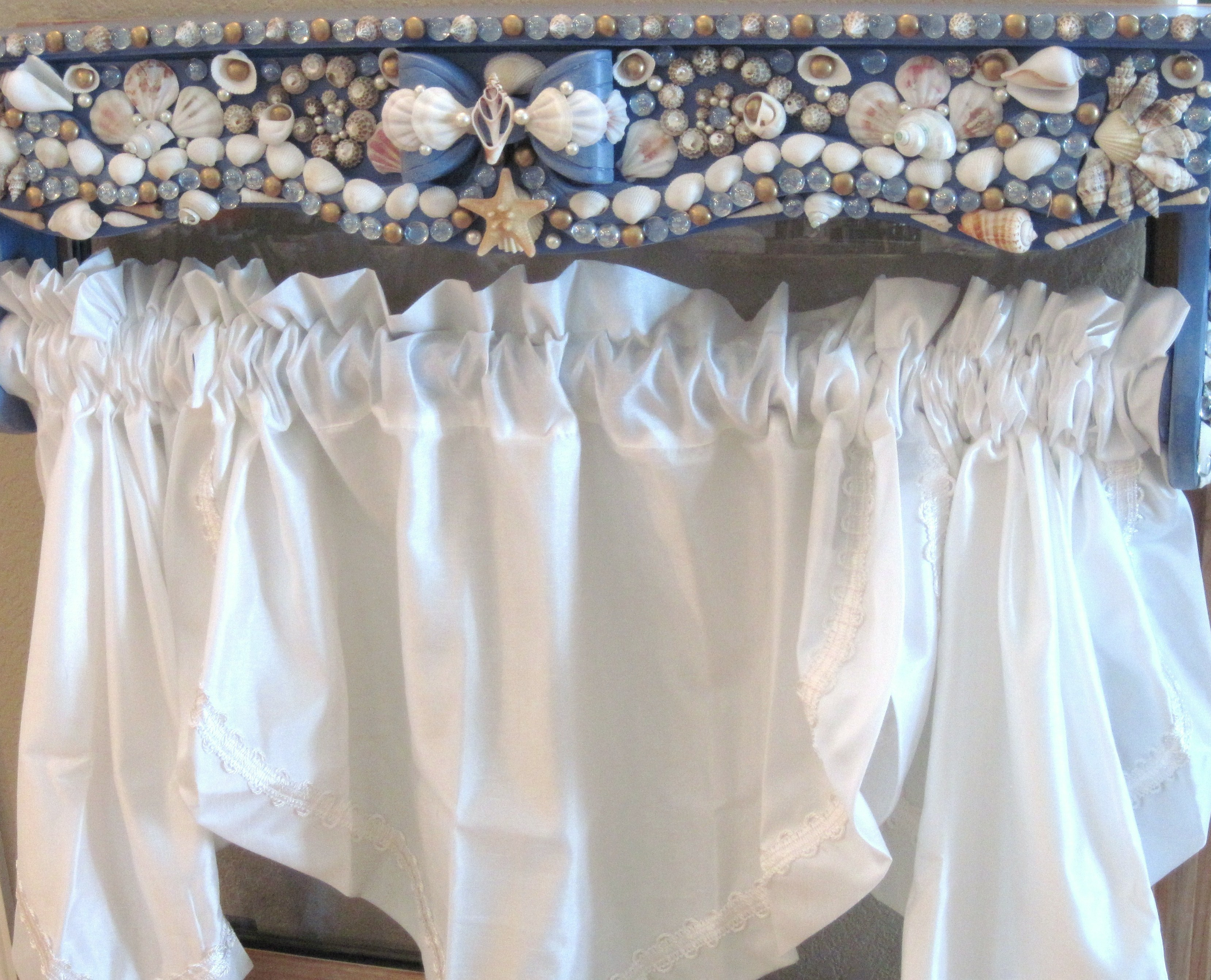 Hand ... & Shabby Chic Window Valance or Bed Canopy with Seashells and Pearls ...